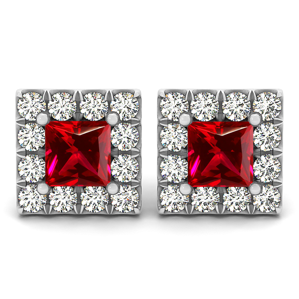 Princess Cut Ruby Earrings Studs