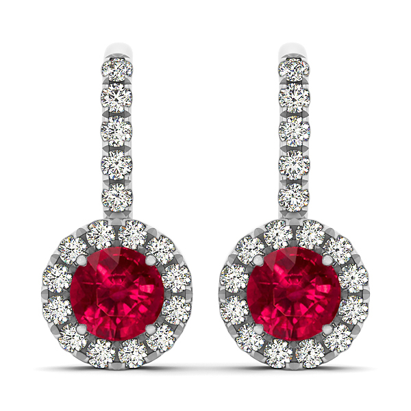 White Gold Ruby Earrings