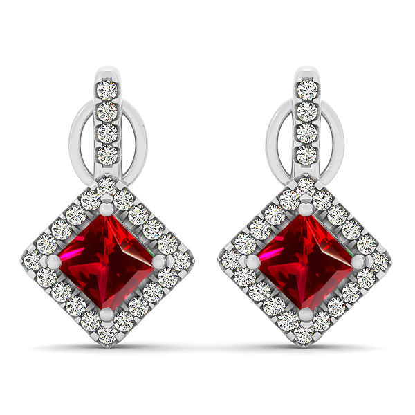 Modern Princess Cut Ruby Earrings