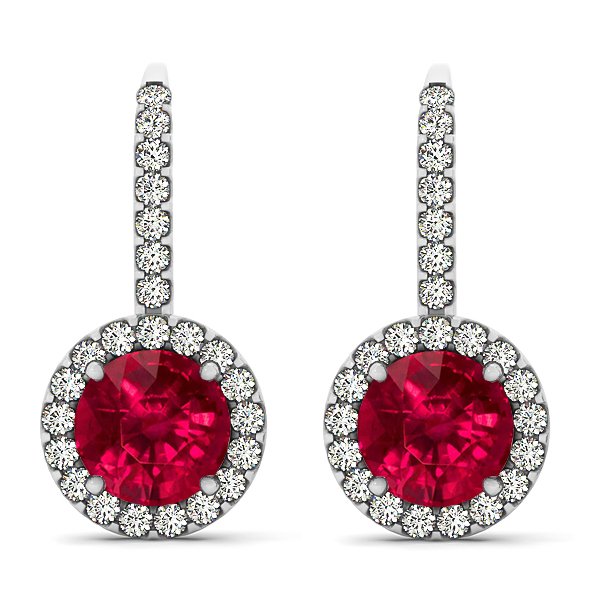 Fancy White Gold Ruby Earrings