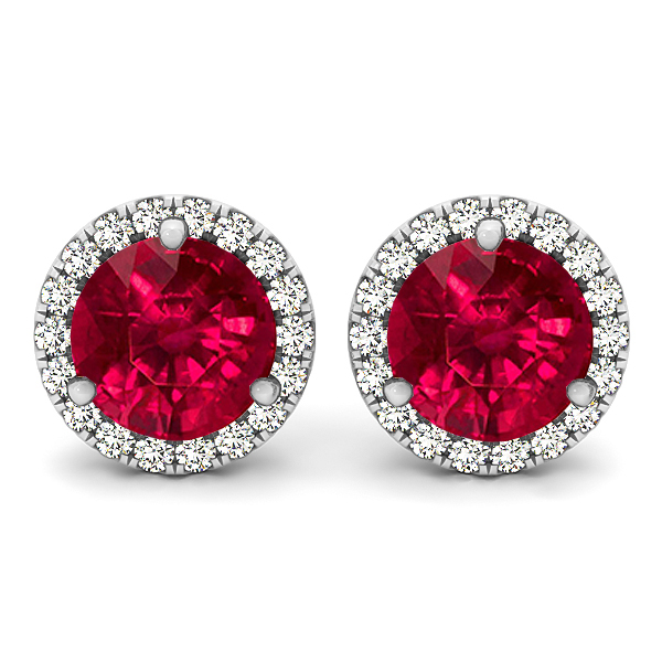 Halo Stud Ruby Earrings