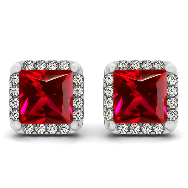 Fancy Princess Cut Ruby Earrings