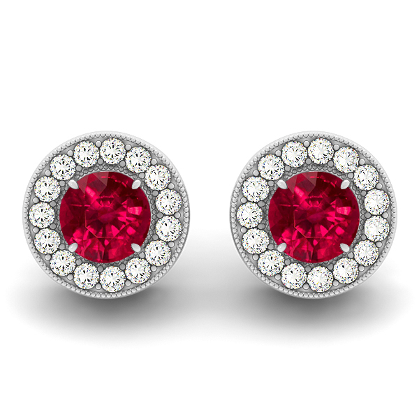 Halo Ruby Earrings Round Cut