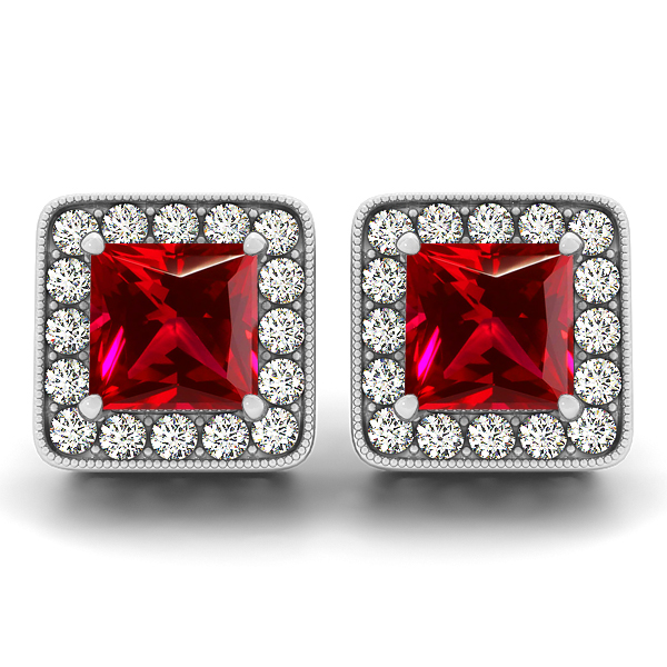 Princess Cut Ruby Earrings