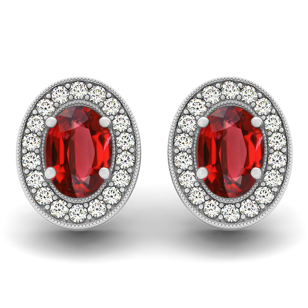 Oval Ruby Earrings Studs