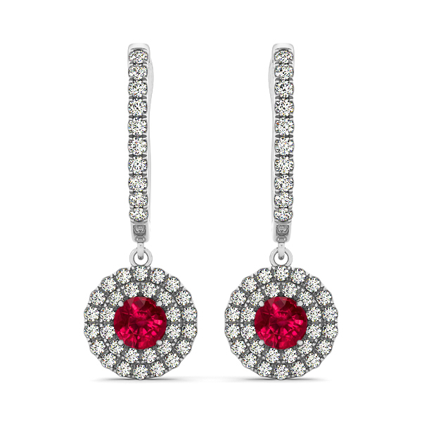 Dangle Ruby with Diamond Earrings