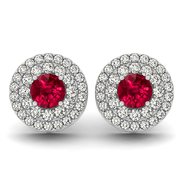 Halo Diamond Ruby Earrings