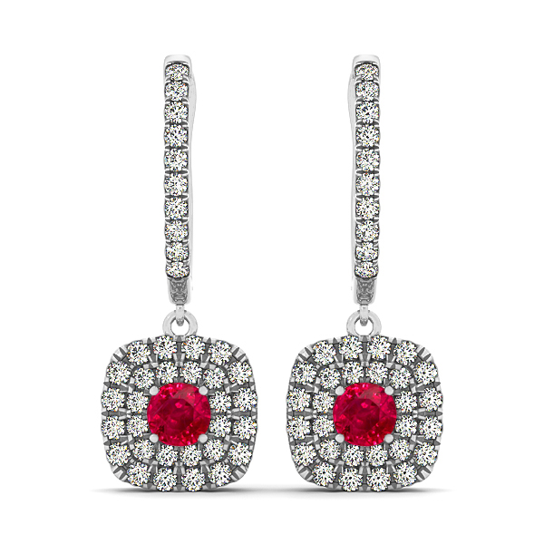 Fine Cushion Ruby Earrings