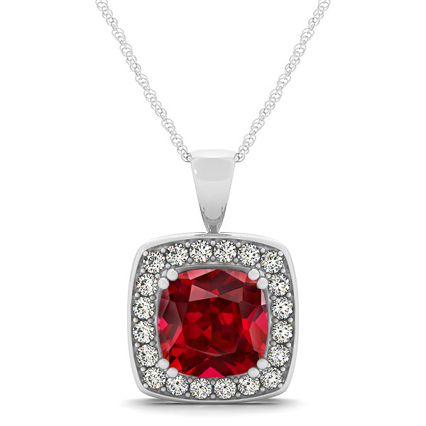 Attractive Dark Red Cushion Ruby Halo Necklace