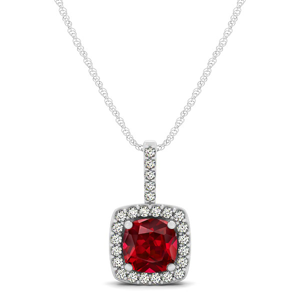 Cushion Ruby Square Halo Necklace