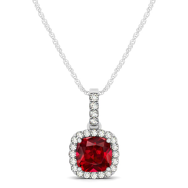 Elegant Cushion Ruby Halo Pendant Necklace
