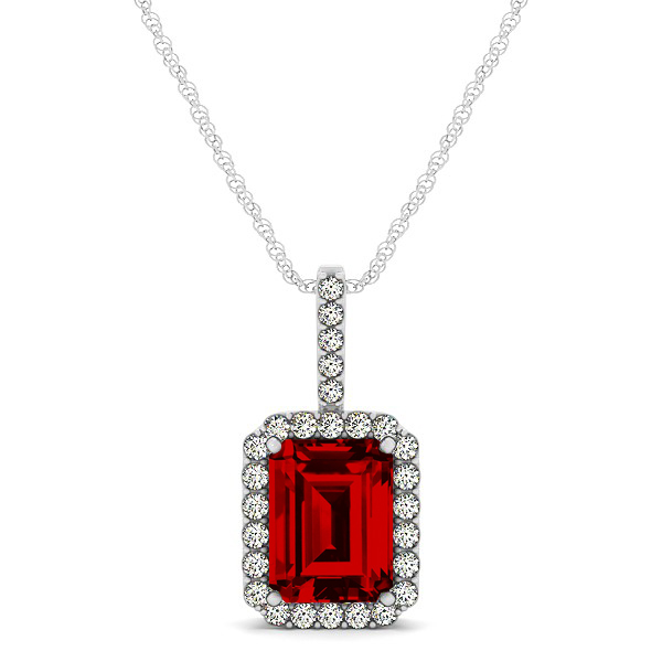 Halo Emerald Cut Ruby Necklace Classic Design