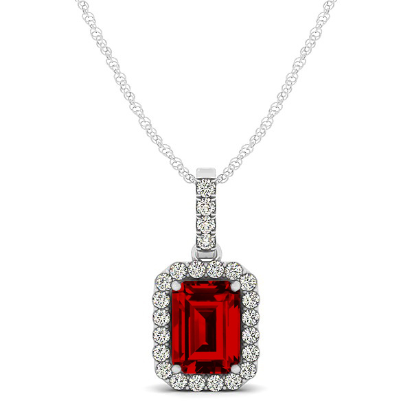 Classic emerald cut ruby necklace with halo pendant aloadofball Gallery