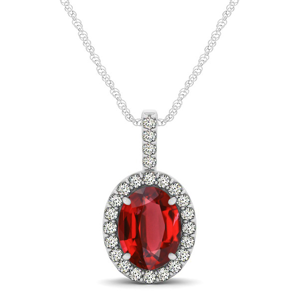 Classic Drop Halo Necklace with Oval AAA Ruby Pendant