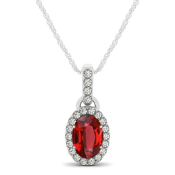 Lovely Halo Oval Ruby Necklace in Gold, Silver or Platinum