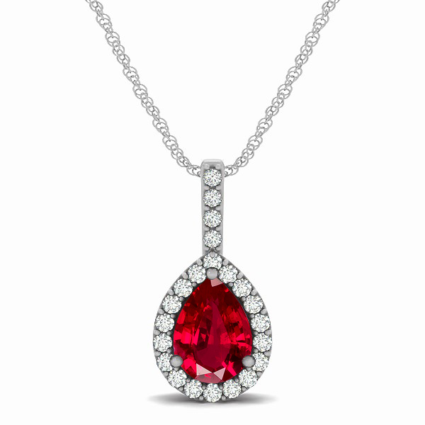 Exclusive pear halo ruby pendant necklace aloadofball Gallery
