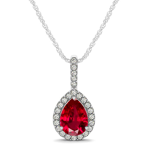 Classic Drop Necklace with Pear Cut Ruby Pendant
