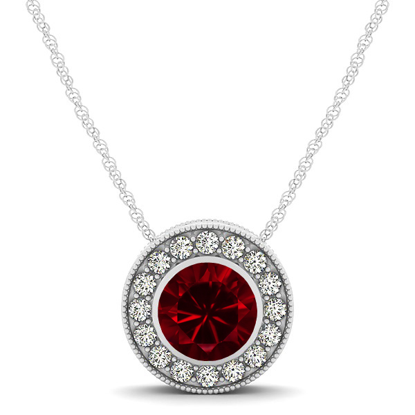 Halo Ruby Necklace with Round Pendant