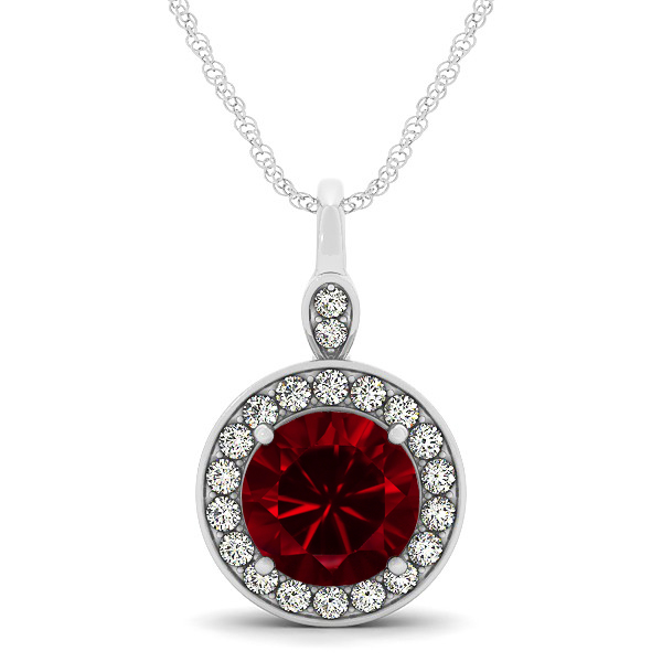 Halo Drop Round Cut Ruby Necklace