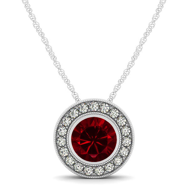 Classy Halo Necklace with Round Cut Ruby Pendant
