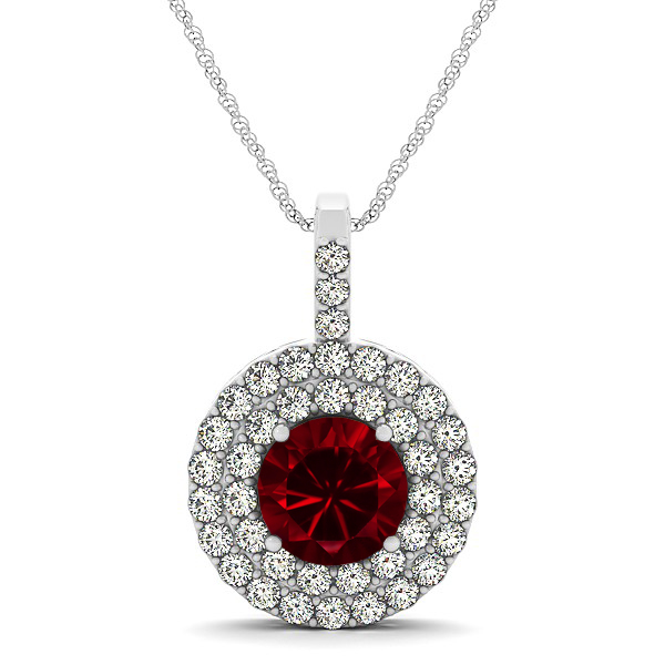 Designer Circle Double Halo Ruby Necklace
