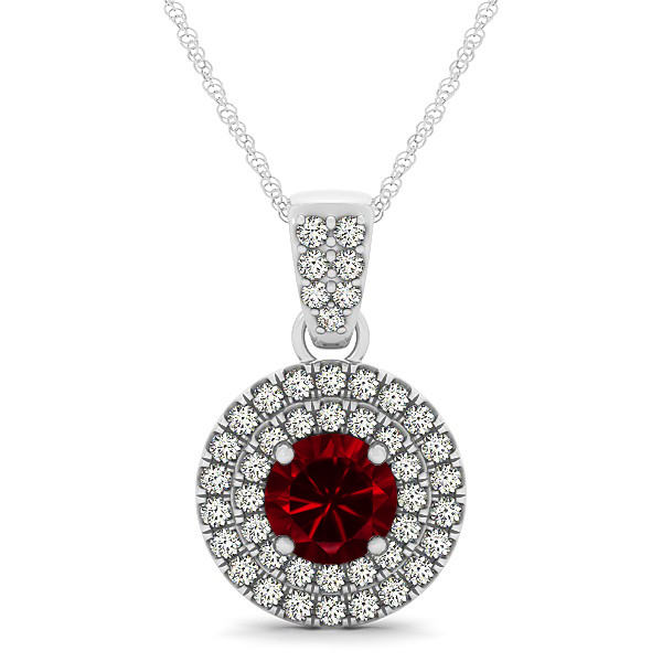 Double Halo Round Ruby Circle Necklace