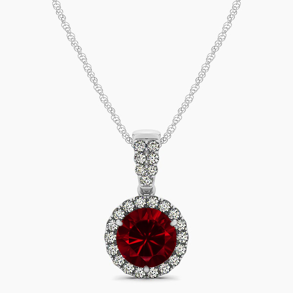 Gorgeous Drop Halo Necklace Round Cut Ruby VS1