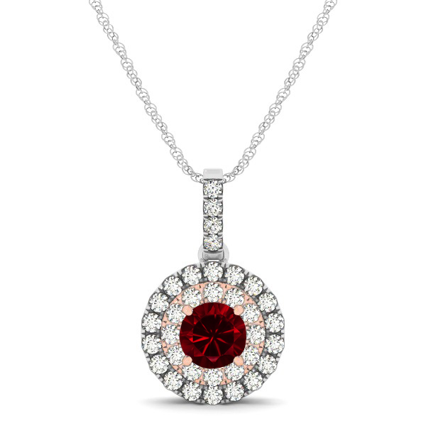 Dual Halo Round Ruby Pendant Necklace