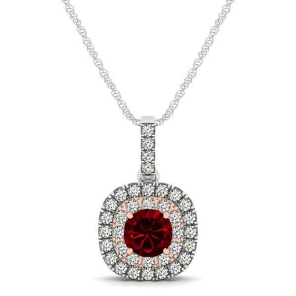 Cushion Shaped Halo Necklace with Round Ruby Pendant
