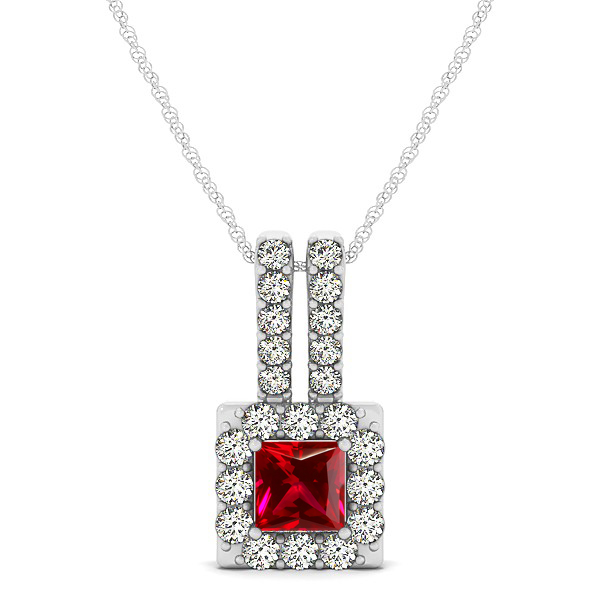 Contemporary Square Halo Necklace Princess Cut Ruby