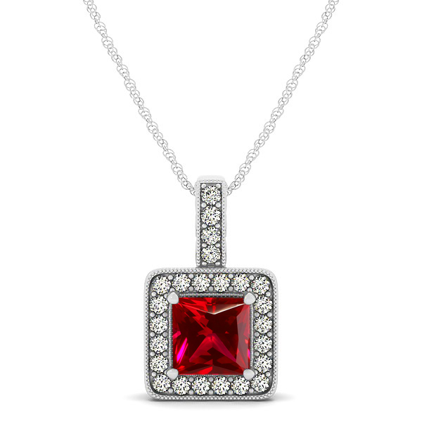 Square ruby halo necklace in gold or sterling silver aloadofball Choice Image