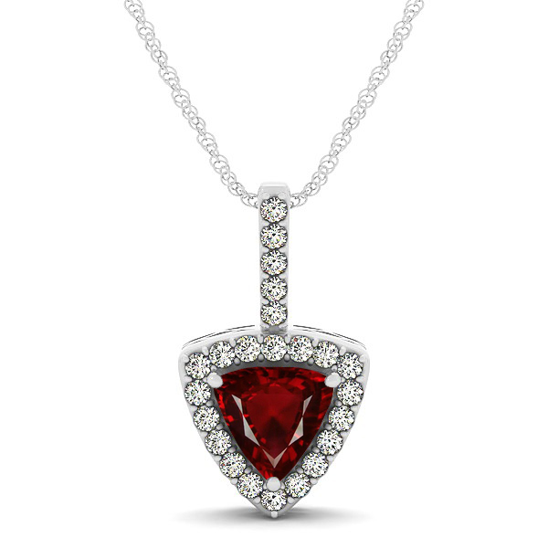 Beautiful Trillion Cut Ruby Halo Necklace