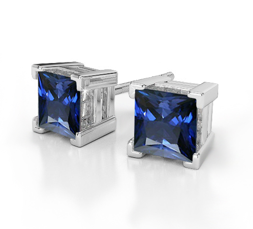 Sapphire Earrings Princess Cut Studs