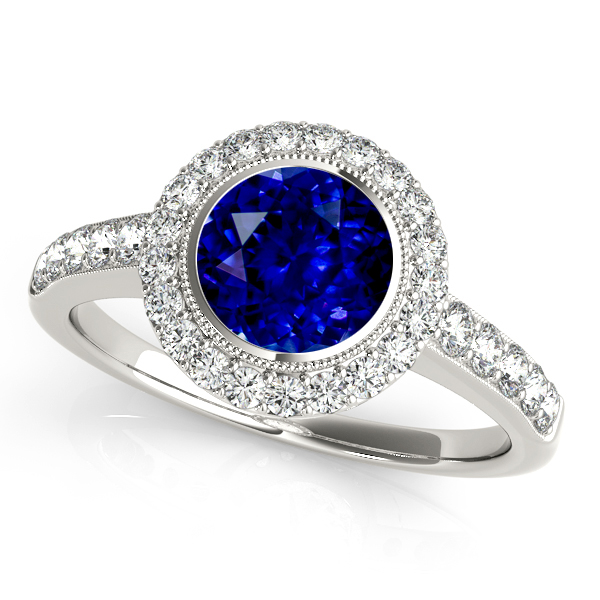 Astounding Bezel Setting Halo Sapphire Engagement Ring