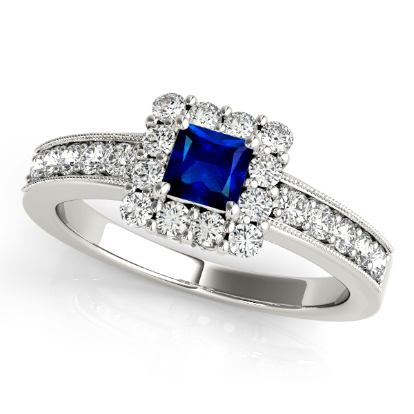 Trendy Princess Cut Sapphire Engagement Ring Vintage Filigree