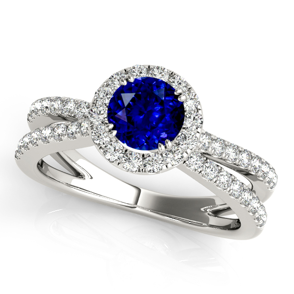 Unequaled Split Shank Engagement Ring with Round Sapphire