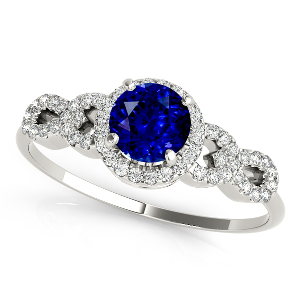 Peculiar Infinity Sapphire Engagement Ring with Round Halo