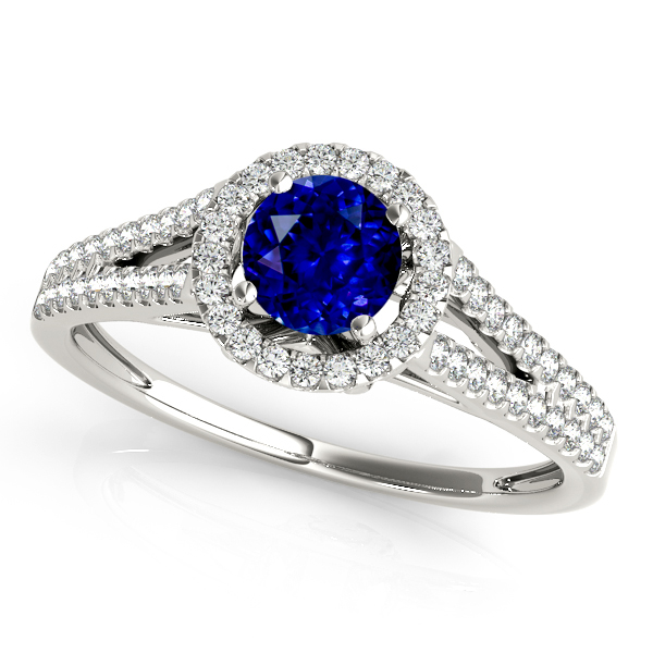 Classic Split Shank Sapphire Engagement Ring White Gold