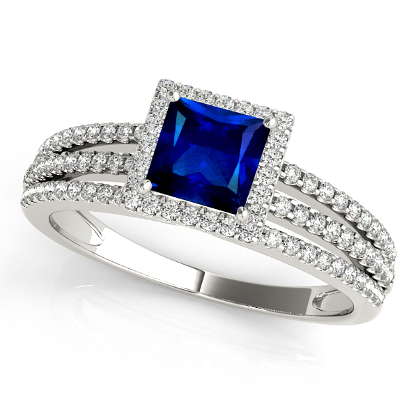 Triple Side Stone Square Halo Sapphire Engagement Ring