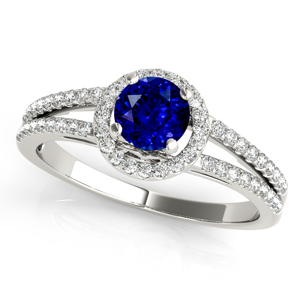 Split Shank Sapphire Engagement Ring with Round Halo