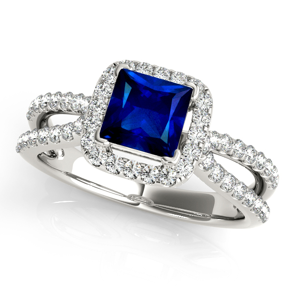Stunning Split Shank Halo Engagement Ring with Princess Cut Sapphire