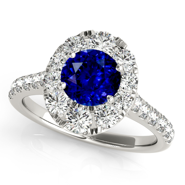 Oval Halo Round Cut Sapphire Engagement Ring