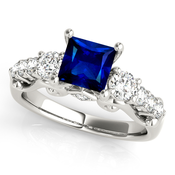 Princess Cut Three Stone Sapphire Engagement Ring White Gold
