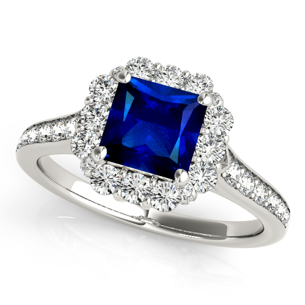 Peculiar Princess Cut Sapphire Engagement Ring Halo