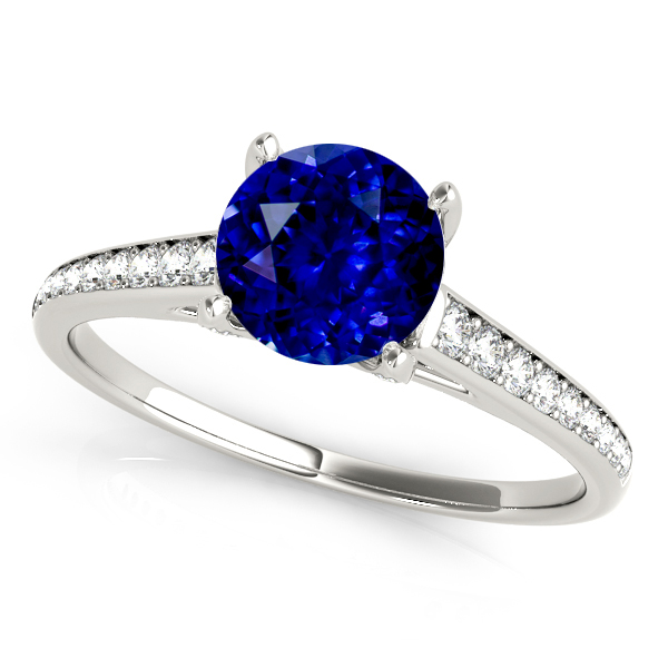 Stylish Sapphire Engagement Ring with Unique Side Stones