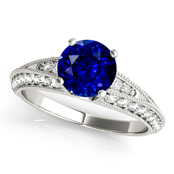 Unusual Vintage Sapphire Engagement Ring in White Gold Filigree