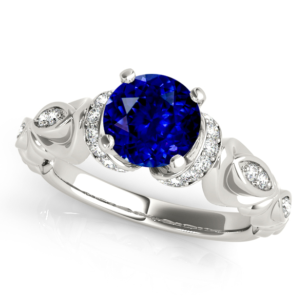Vintage Sapphire Side Stone Accent Engagement Ring