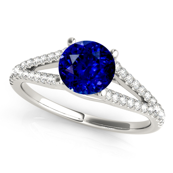 Fine Split Shank Sapphire White Gold Engagement Ring