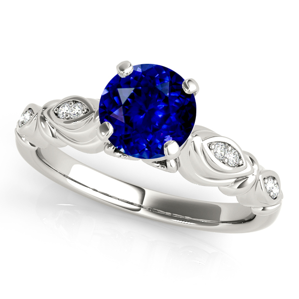 Fine Vintage Sapphire Engagement Ring in White Gold