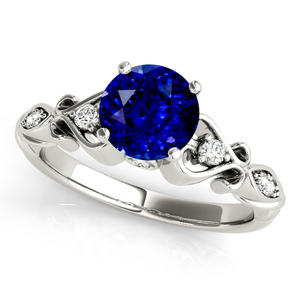 Heart Side Stone Vintage Sapphire Engagement Ring